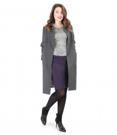 Jacket with lapel and side pockets and conical skirt