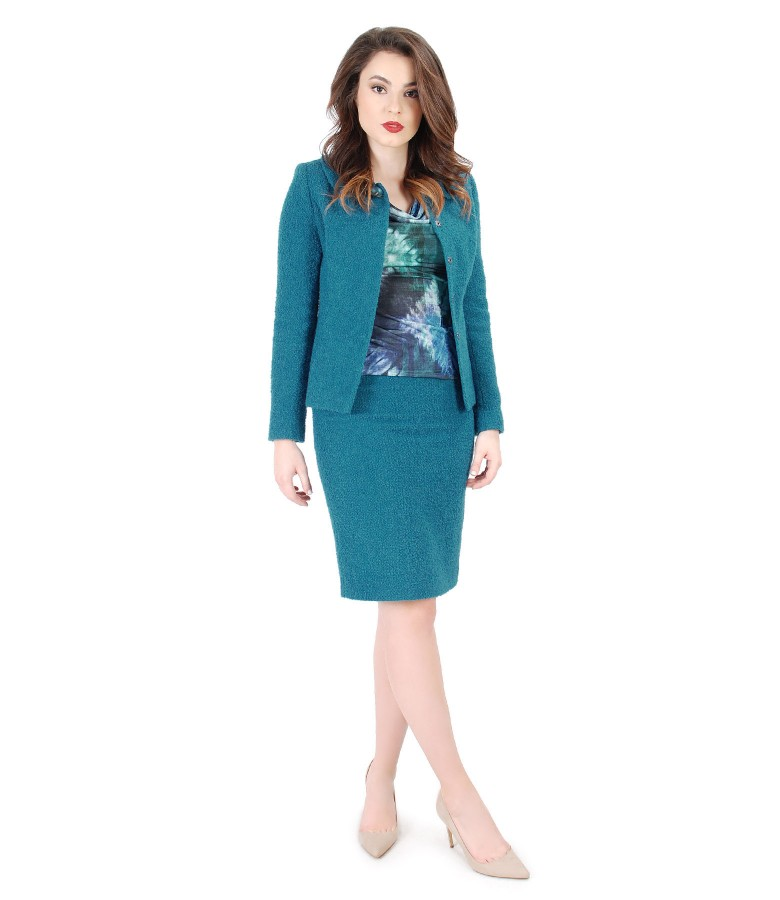 Office women suit with jacket and wool with alpaca skirt