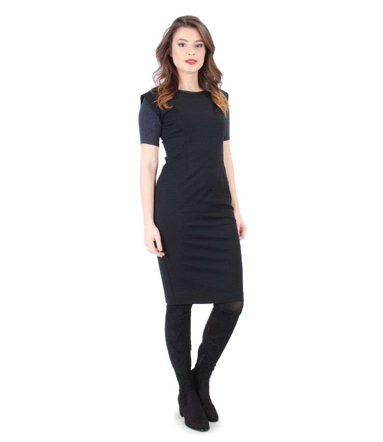 Elegant dress with jersey and wool blouse