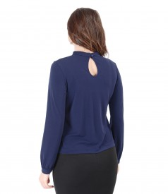 Elegant blouse with crystals trim