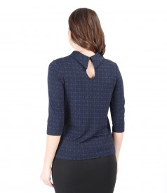Printed elastic jersey blouse with 3/4 sleeves