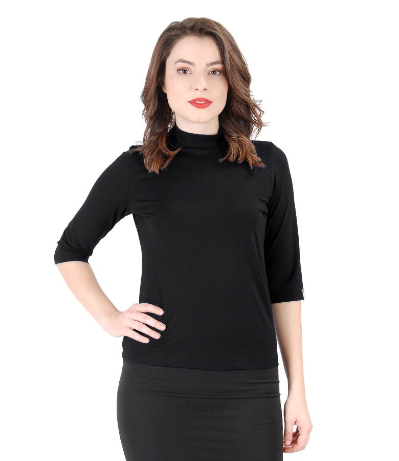 Elegant uni jersey blouse with 3/4 sleeves