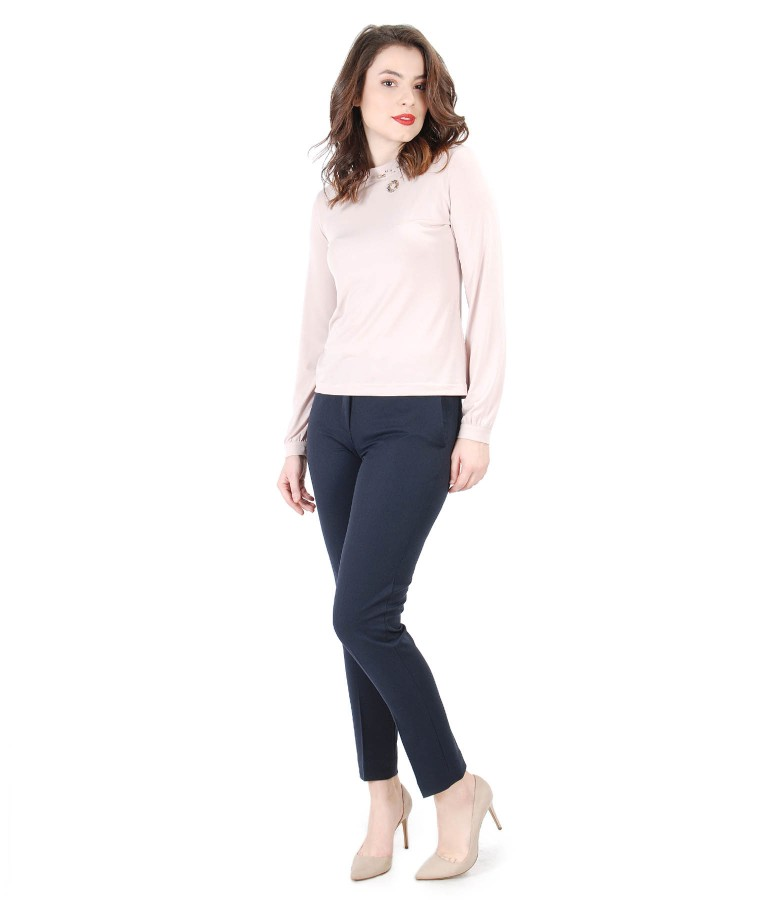 Elegant outfit with blouse with Swarovski crystals inserts and pants