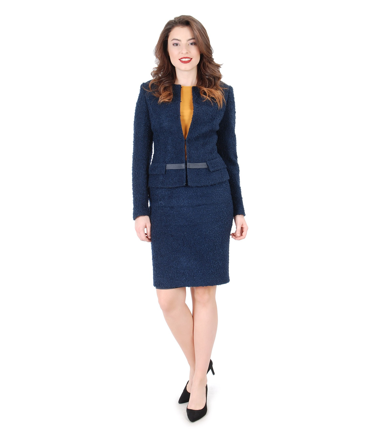 Women Office Suit With Jacket And Wool Loops Skirt
