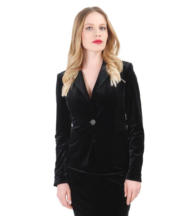 Elegant black stretch velvet jacket