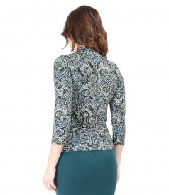 Elegant printed jersey blouse with collar