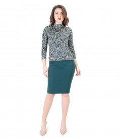 Elegant outfit with printed jersey blouse and conical skirt