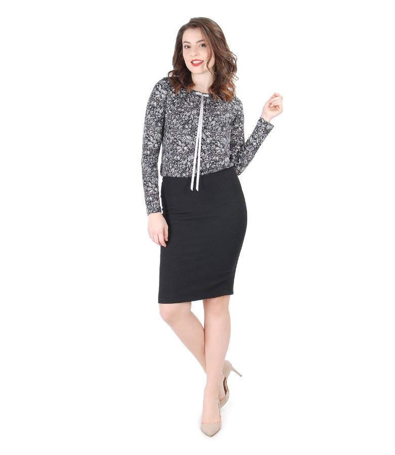 Elastic jersey blouse with bow on the decolletage and conical skirt