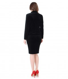Evening suit with jacket and black velvet skirt