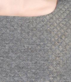 Elegant elastic brocade dress with geometric motifs