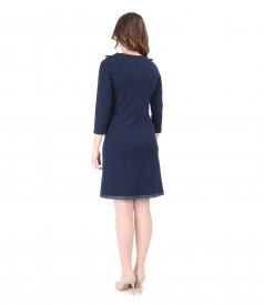Thick elastic jersey dress with trim