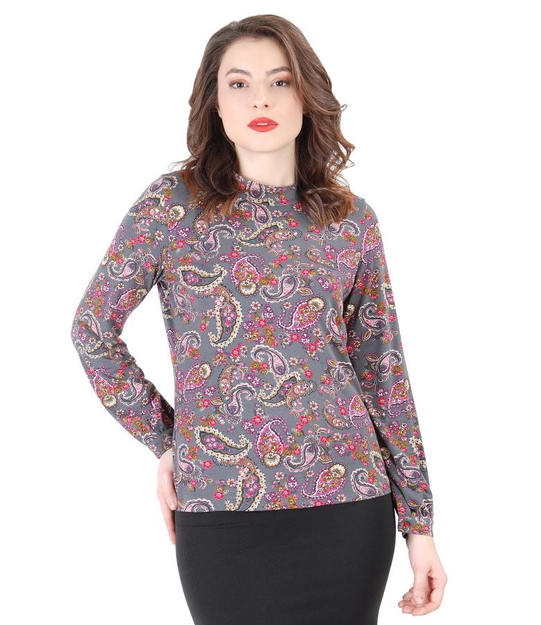 Floral printed elastic jersey blouse