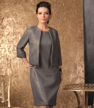Elegant outfit with dress and brocade jacket with geometric motifs