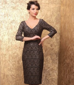 Midi dress made of elastic velvet printed with golden motifs