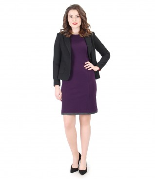 Elegant outfit with elastic jersey dress and office jacket