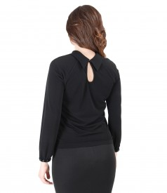 Uni jersey blouse with long sleeves