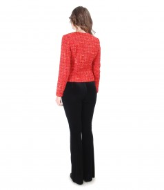 Multicolor loops jacket with velvet pants