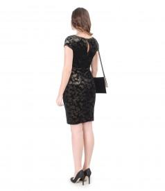 Golden velvet evening dress with elastic velvet envelope clutch