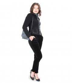 Elegant outfit with elastic velvet pants and purse