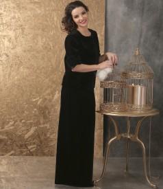 Elegant outfit with jacket and black velvet long skirt