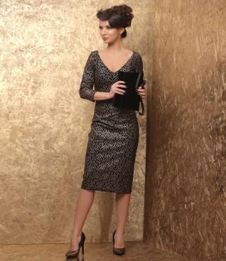 Evening dress with velvet purse