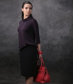 Elegant blouse with 3/4 sleeves and conical skirt