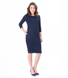 Elastic jersey dress with trim