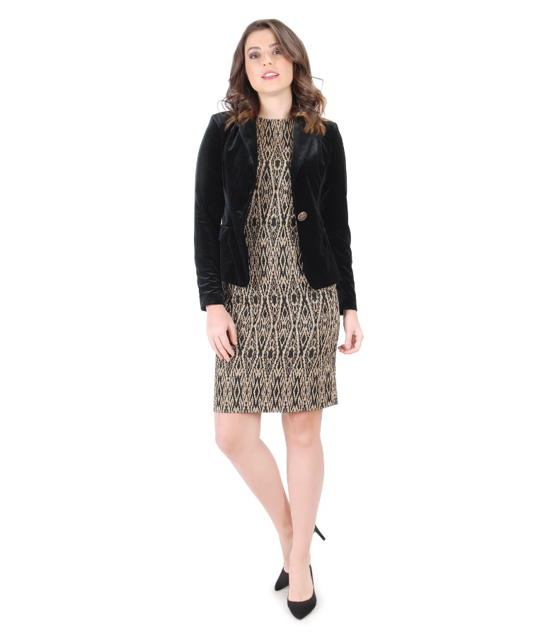 Elegant outfit with dress with golden motifs and velvet jacket