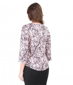 Elegant blouse made of elastic jersey with floral print