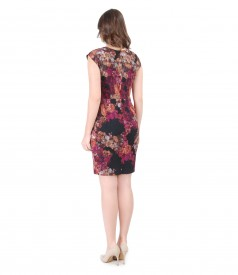 Elegant brocade dress with floral print