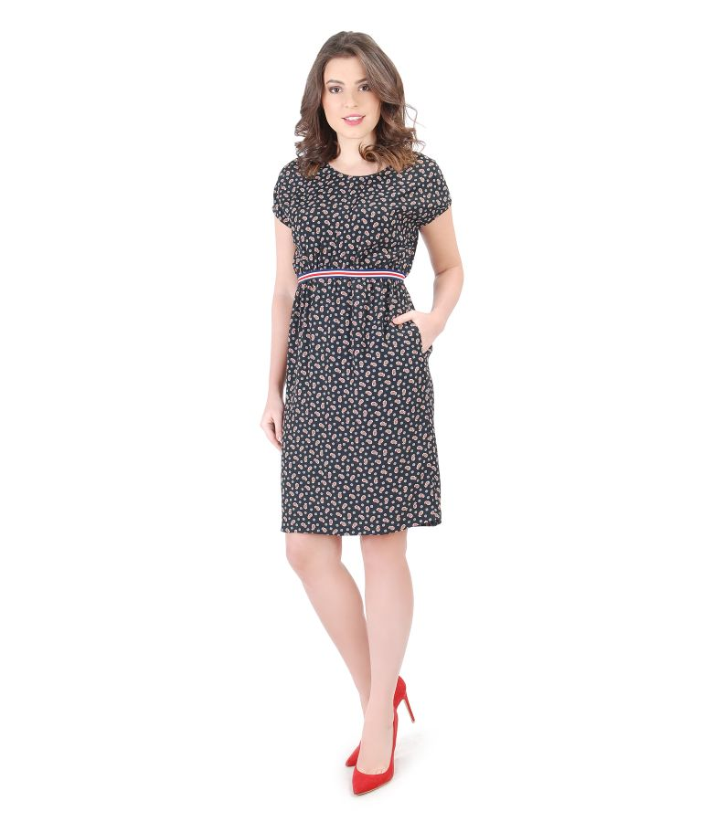 Printed viscose dress with elastic waist