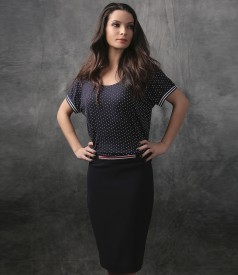 Office skirt with elastic waist