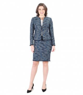Office women suit with jacket and multicolor loops skirt
