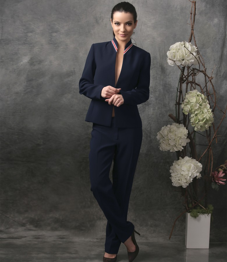 Office women suit with jacket and pants with multicolor elastic