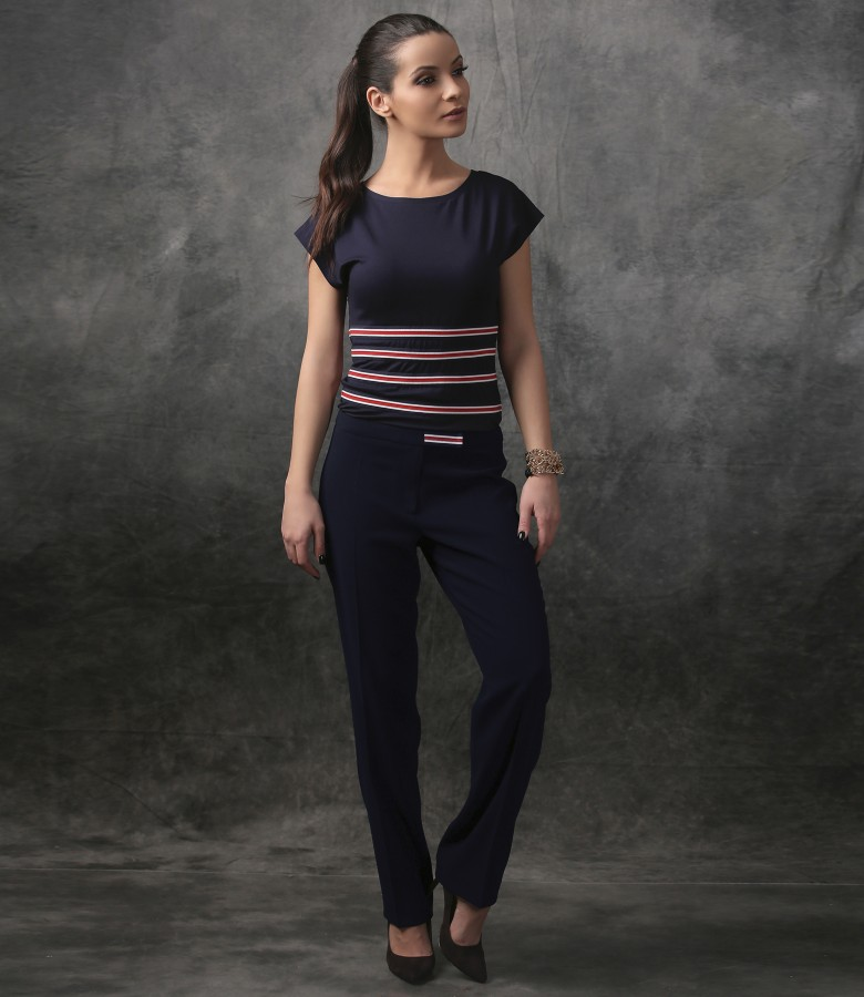 Elegant jersey blouse with elastic waist and pants
