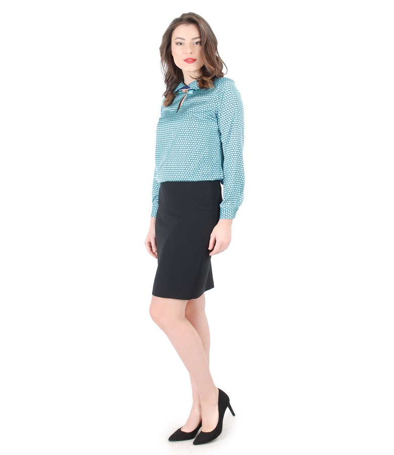 Elegant outfit with geometric printed blouse and office skirt - YOKKO