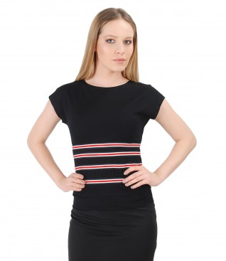 Uni jersey t-shirt with elastic waist