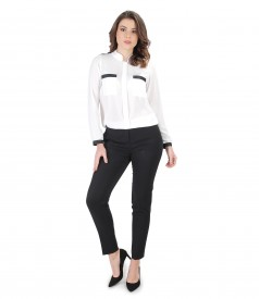 Office outfit with blouse with long sleeves and ankle pants