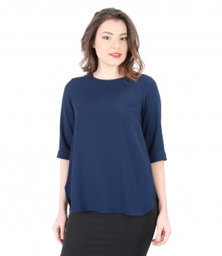 Casual blouse with zipper on the middle back
