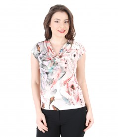 Elastic jersey blouse with folds