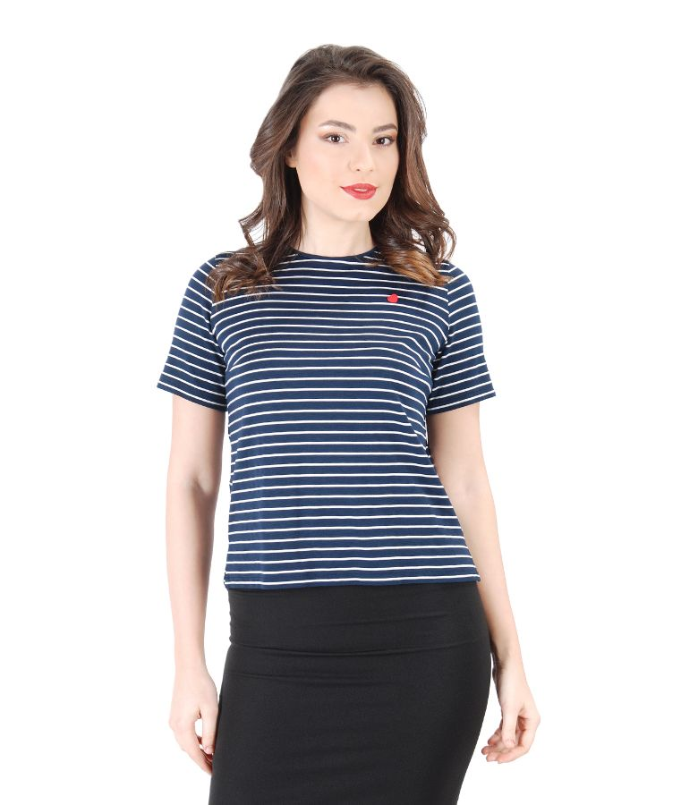 Thick elastic jersey blouse with stripes