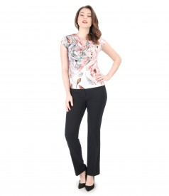 Casual outfit with blouse with folds and office pants