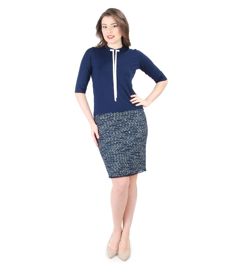 Elegant blouse with bow on decolletage and skirt with multi-color loops