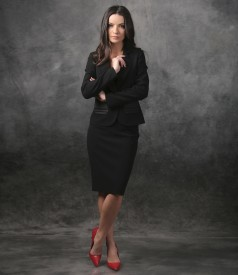 Women office suit with jacket with pockets and conical skirt