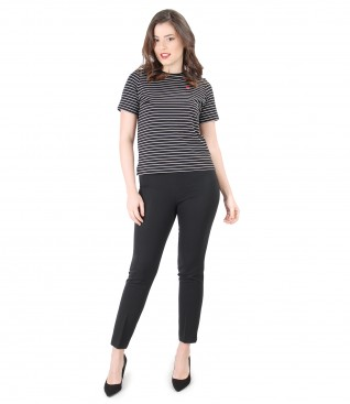 Elastic jersey blouse with stripes and ankle pants