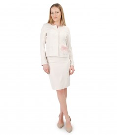 Women elegant suit with jacket with brooch on the pocket and pencil skirt