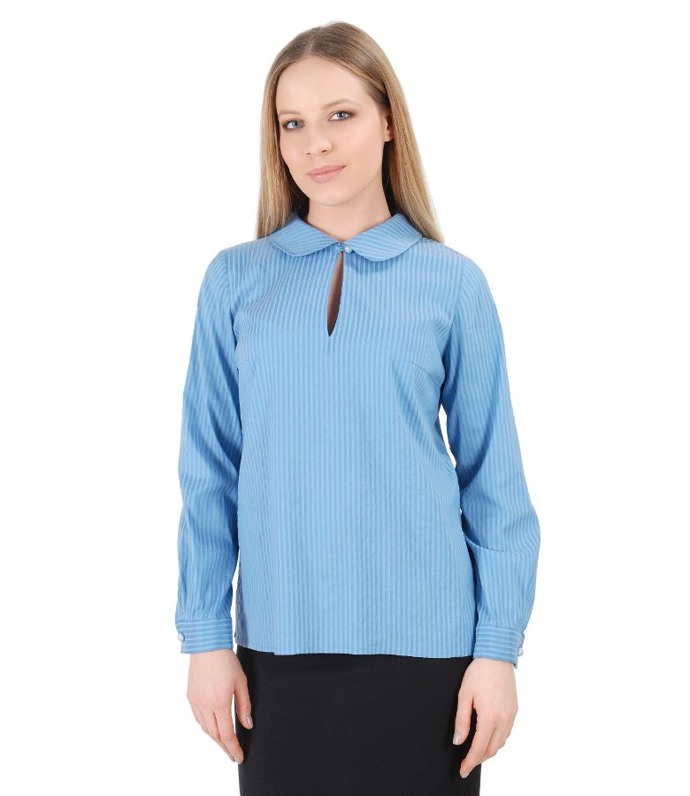 Elegant blouse with long sleeves and round collar