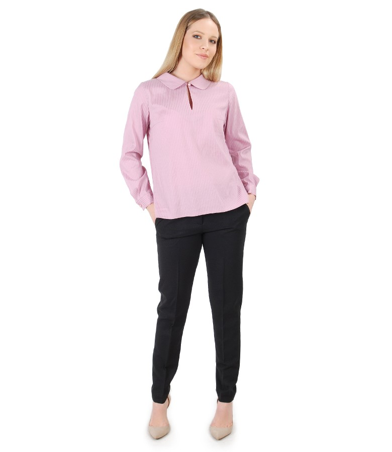Casual outfit with blouse with round collar and office pants