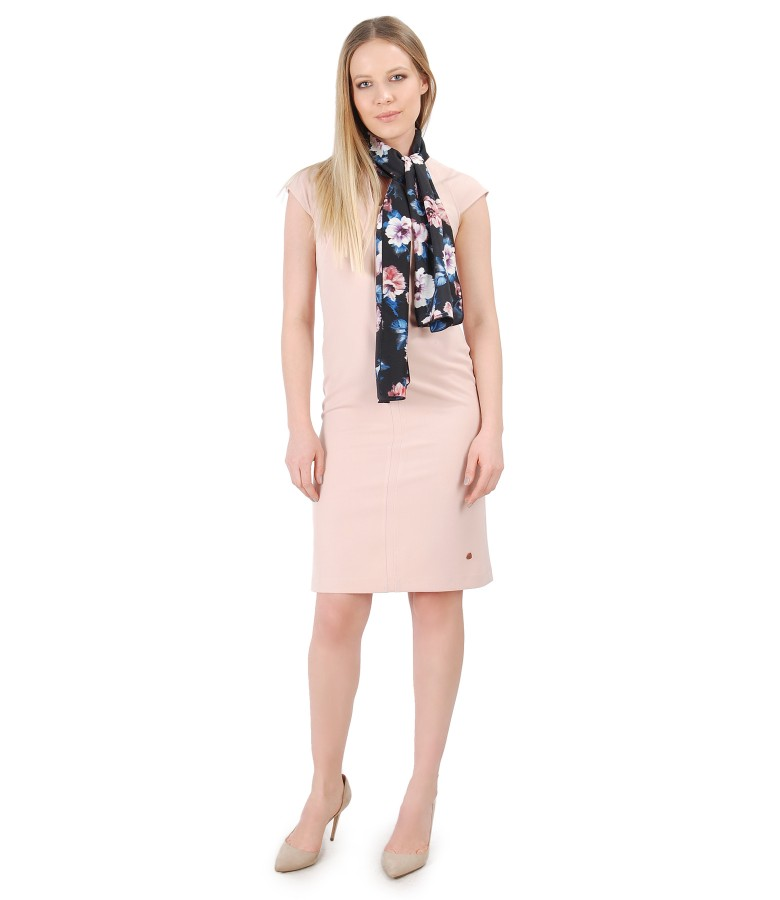 Elastic fabric dress with scarf with floral print