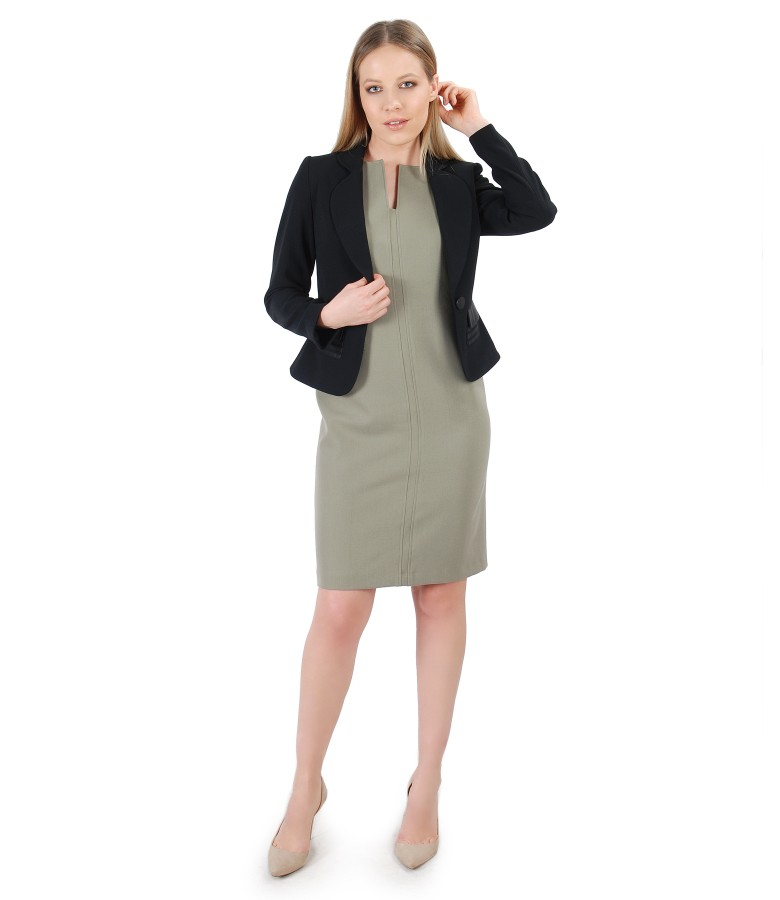 Elegant outfit with elastic fabric dress and jacket